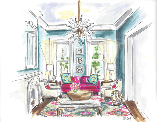 Interior hand rendering by Jeanne K Chung of Cozy•Stylish•Chic