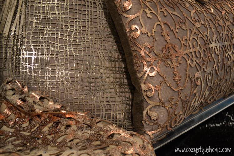 Metallic laser cut pillows