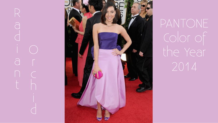 """Pantone's Color of the Year, """"radiant orchid"""" as seen on the red carpet of the 2014 Golden Globe Awards"""