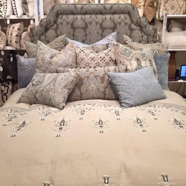 Upholstered and beaded headboard, Callisto Home via Cozy Stylish Chic