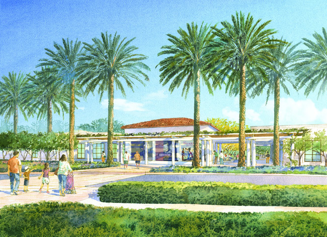 Artist rendering of the entrance to the Steven S. Koblik Education and Visitor Center, opening April 2015 at The Huntington Library, Art Collections, and Botanical Gardens. Architectural Resources Group and Office of Cheryl Barton, © Art Zendarski.