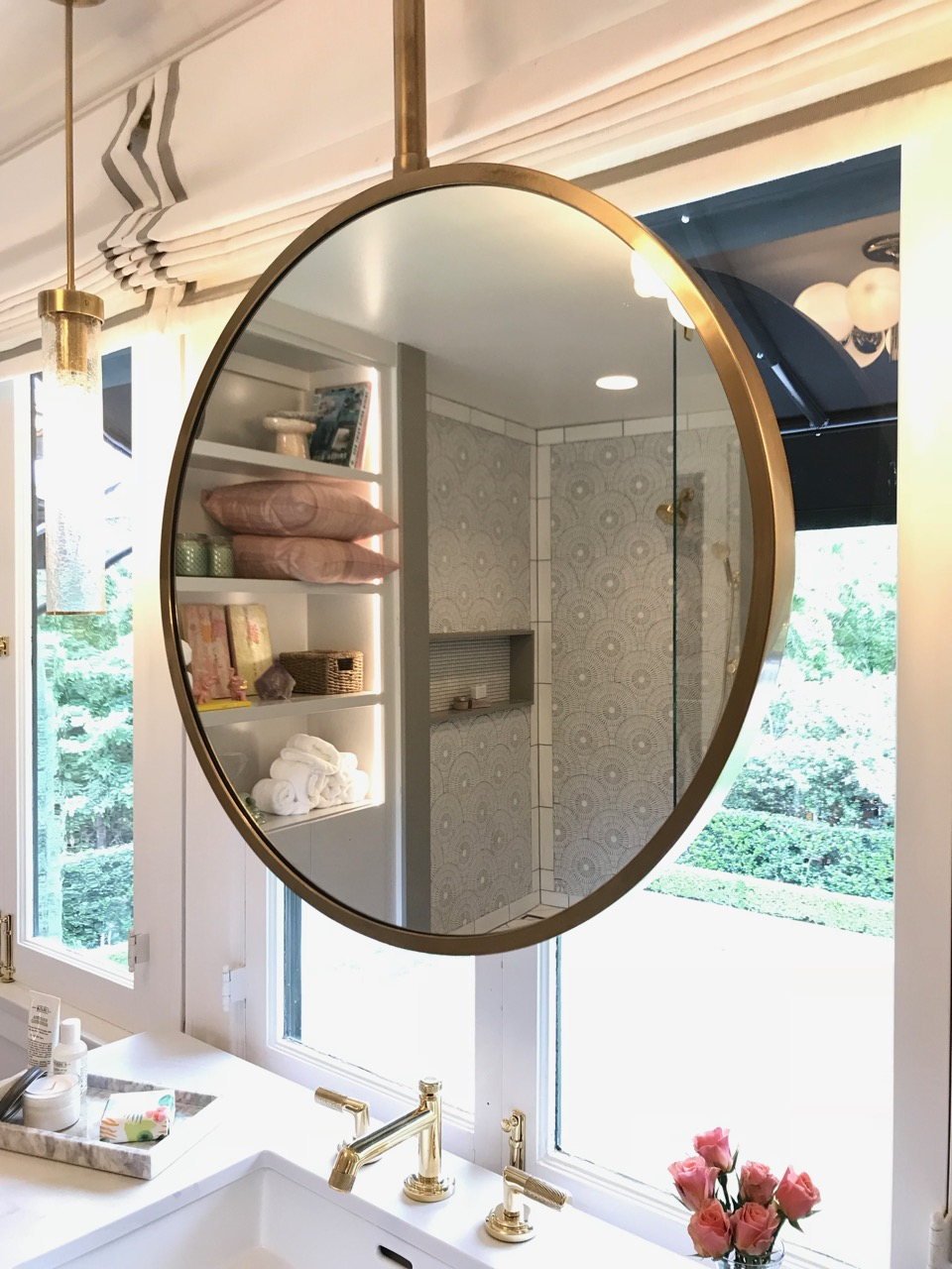custom mirror in front of window - Jeanne K Chung | Cozy Stylish Chic