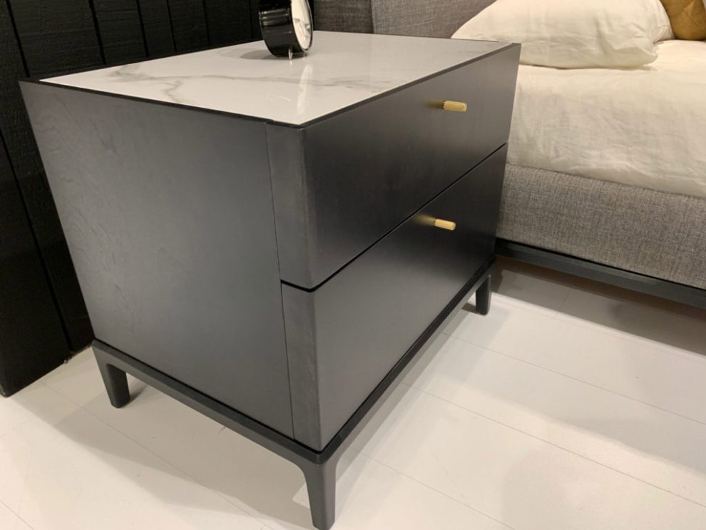 Soft-cornered dark wood nightstand 2019 Spring design trends - Huppe, Highpoint Market