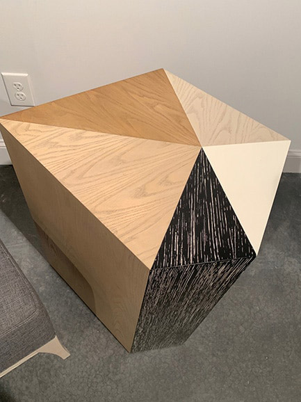 Geometric wood grain mosaic with 5 different finishes at Highpoint market