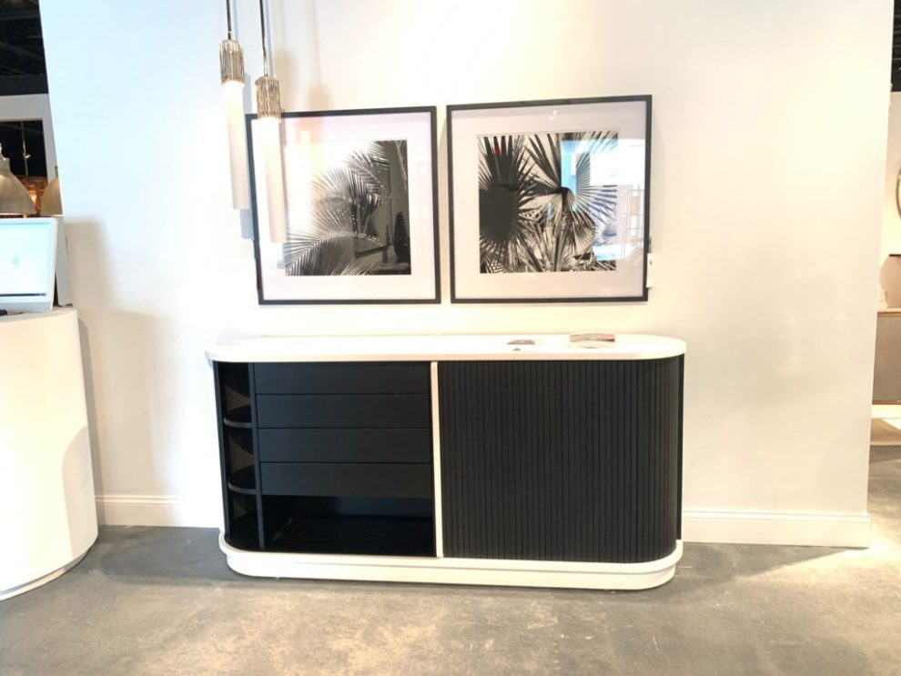 Contemporary black and white Rounded Rectangular table Spring 2019 Design Trends - High Point Market
