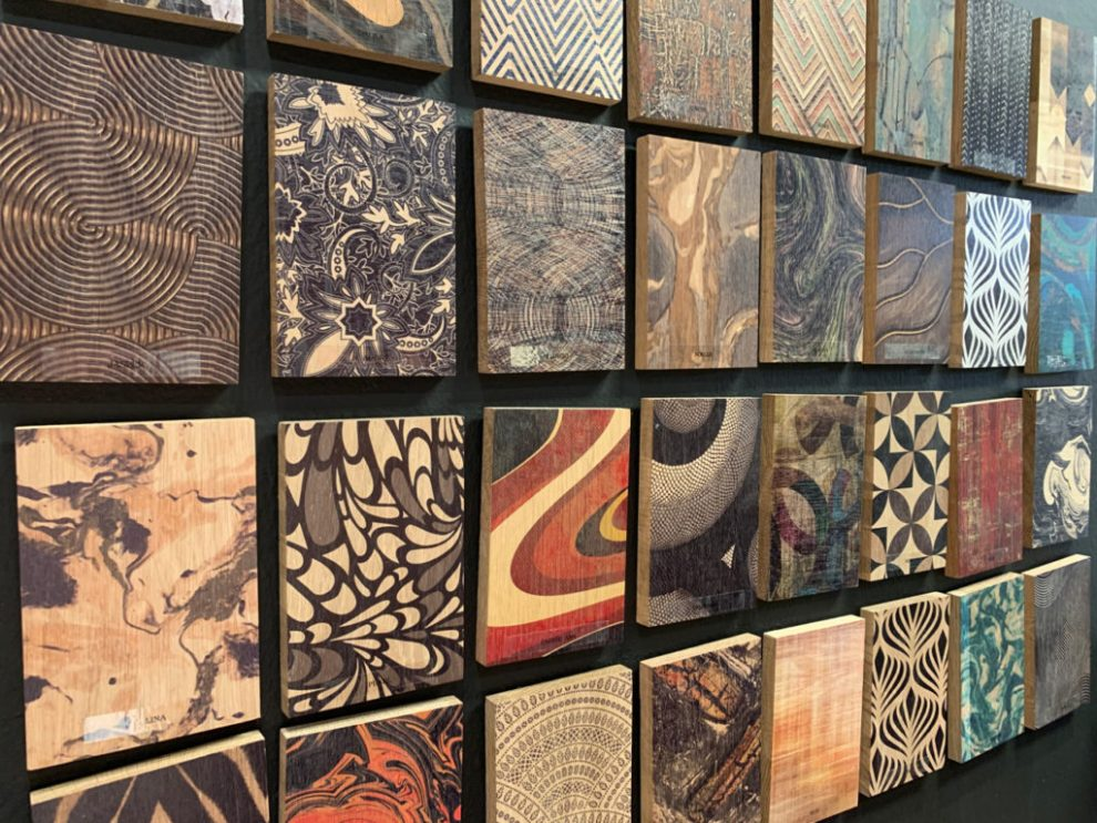Spring 2019 Trends - Samples of various digital prints on wood at Highpoint Market