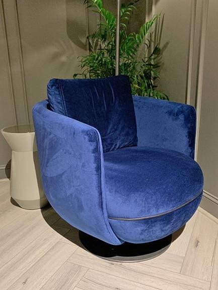 Nina Magon blue swivel chair Spring 2019 Design Trends - High Point Market