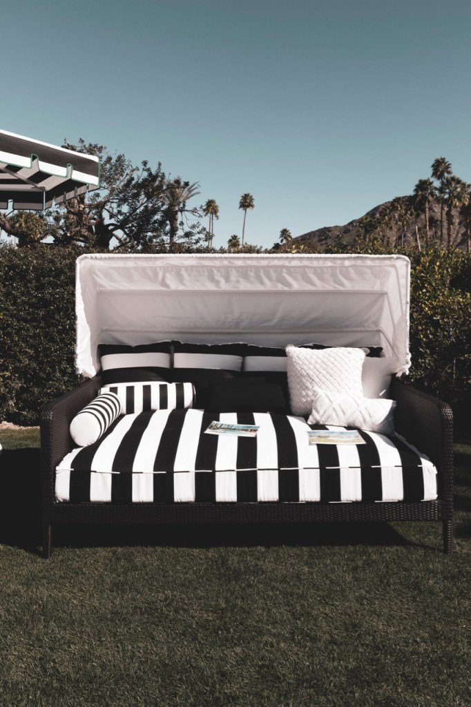 Black and white striped out door daybed in Palm Springs