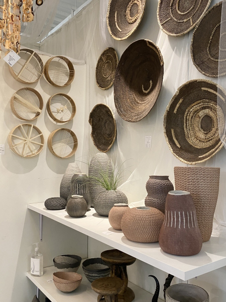Woven wall hangings and modern global vases - High Point Market furniture trends 2021