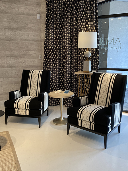 Stripe matched wing back chairs - High Point Market