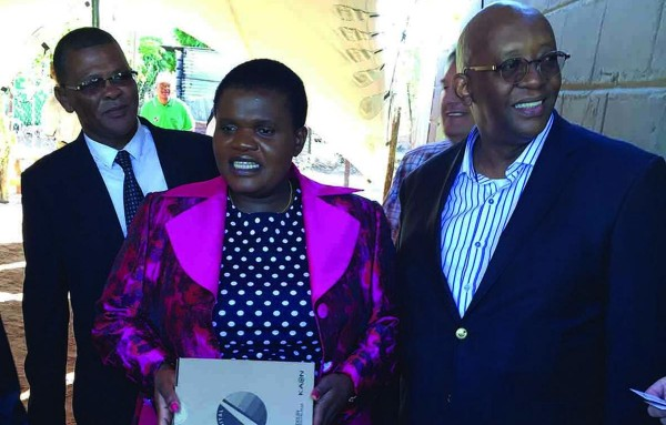 Minister of Communications Faith Muthambi and George Magashula, chairman of CZ Electronics, at the installation of the first set-top box in the Northern Cape. Photo: Supplied
