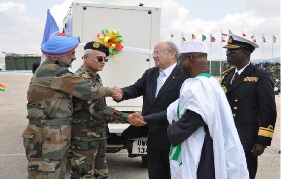 Ghana's Ambassador to Egypt, HE Lt Col Ahmed Umar Sanda (rtd) (far right), Ghana's Consul General to Lebanon, HE Michel Haddad and Rear Admira Akoto Bonsu present the generator to LAF through UNIFIL