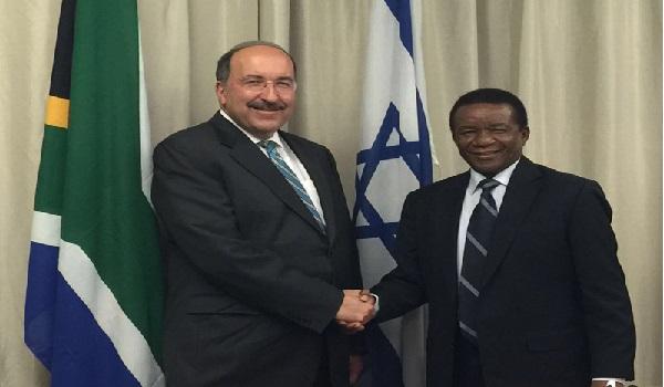 Israel MFA Director General Dr. Dore Gold and Ambassador Jerry Matthews Matjila Image Credit: MFA