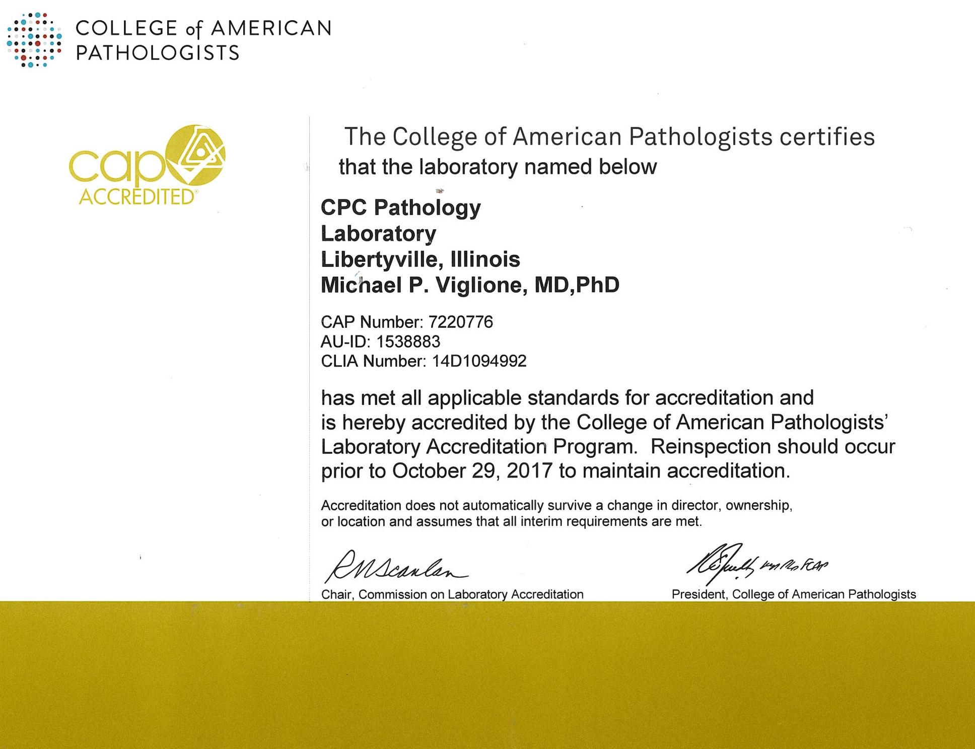 cap accreditation certificate 1936 pathology