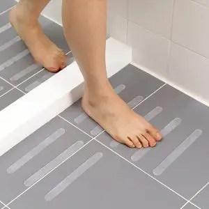tiled shower floor less slippery