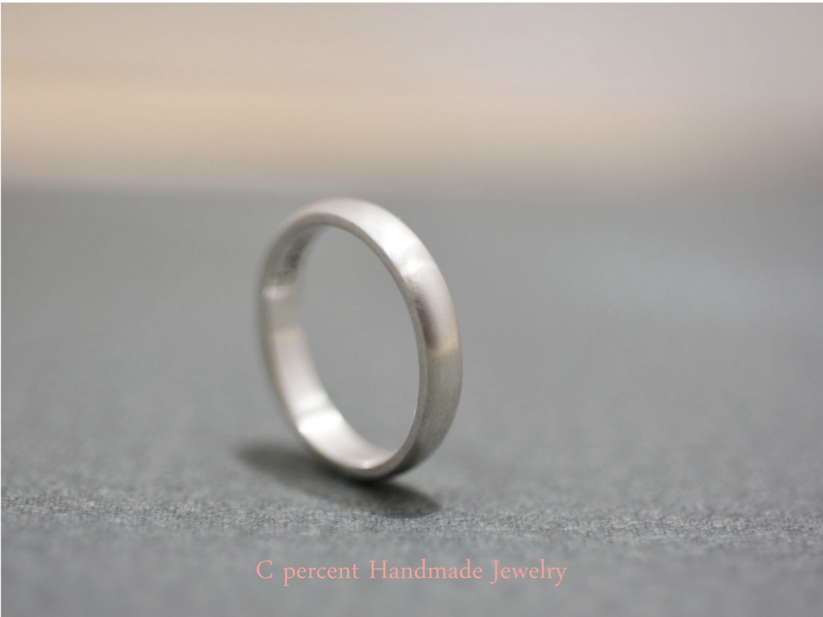 【素面刻字戒指】K Lynn 情侶對戒 (純銀戒指) 霧面質感 - 客製化訂做 - C percent手工飾品