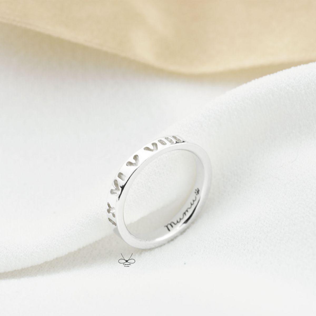 【專屬訂製】mumu狗腳印 羅馬數字戒指 (銀飾) - 客製化訂做 - C percent手工飾品