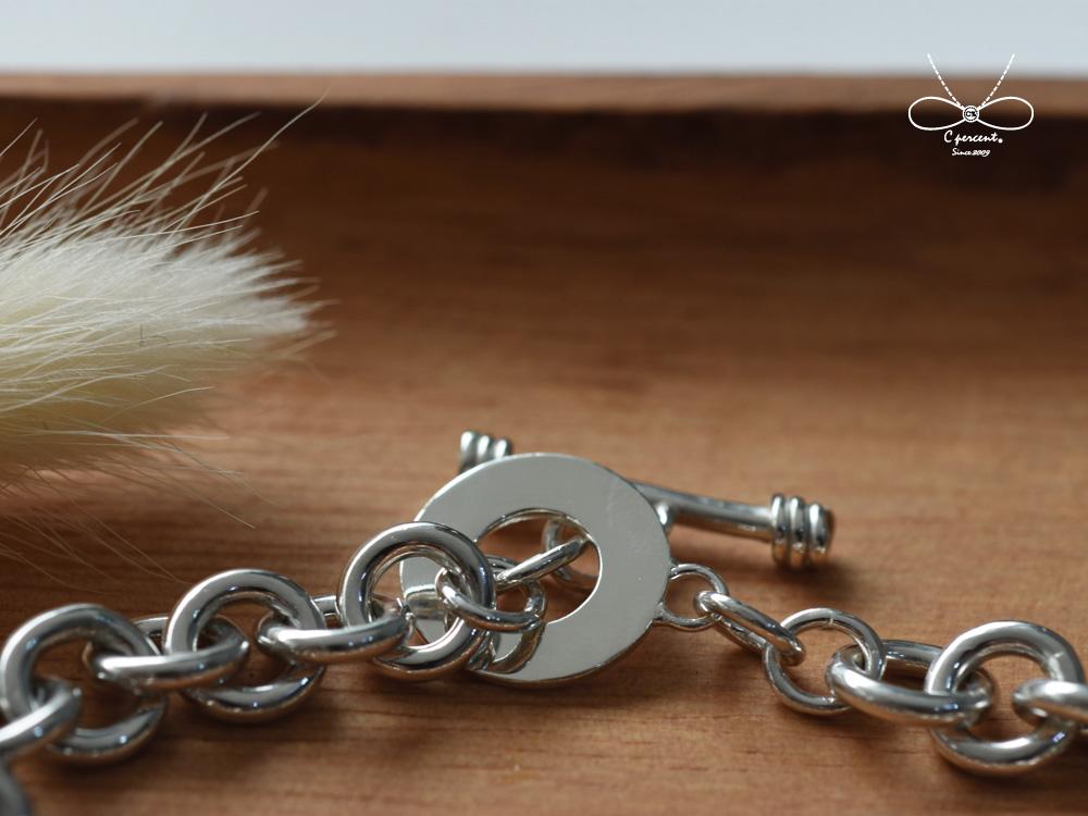 【專屬訂製】2cm圓片粗手鍊 (銀飾手鍊) - 客製化訂做 - C percent手工飾品