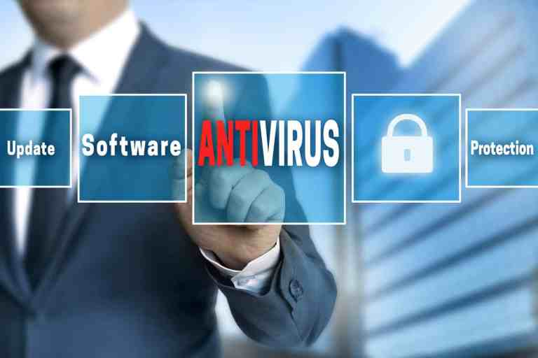 52899794 - antivirus touchscreen is operated by businessman.