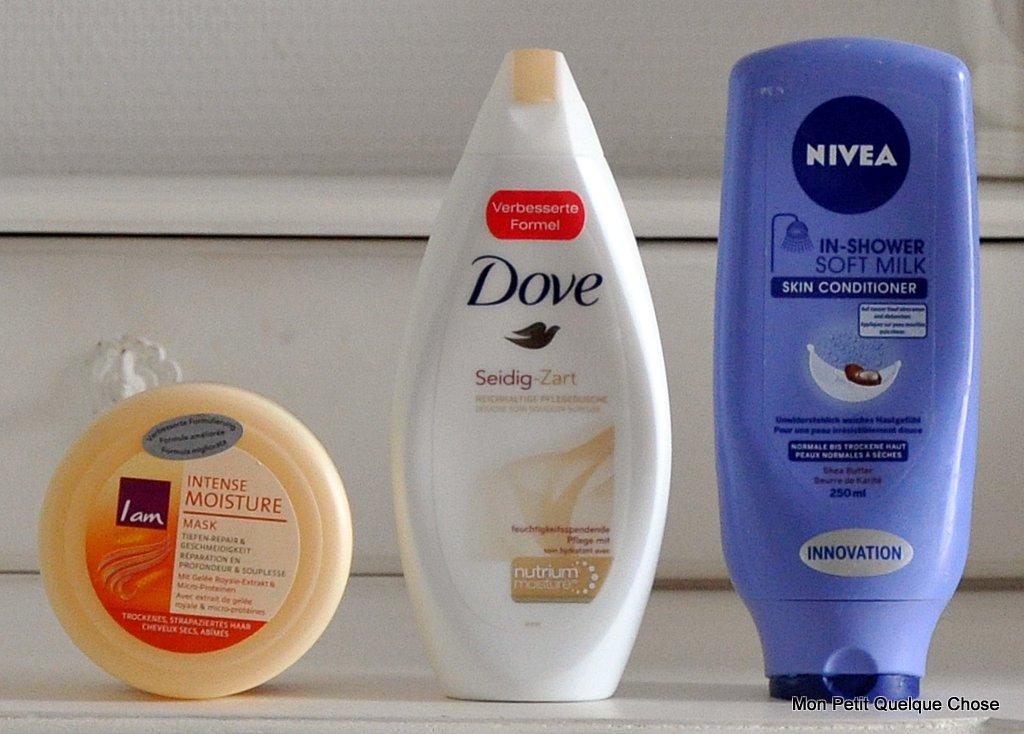 Iam Intense Moisture Mask, Dove crème douche, Nivea In shower au Karité