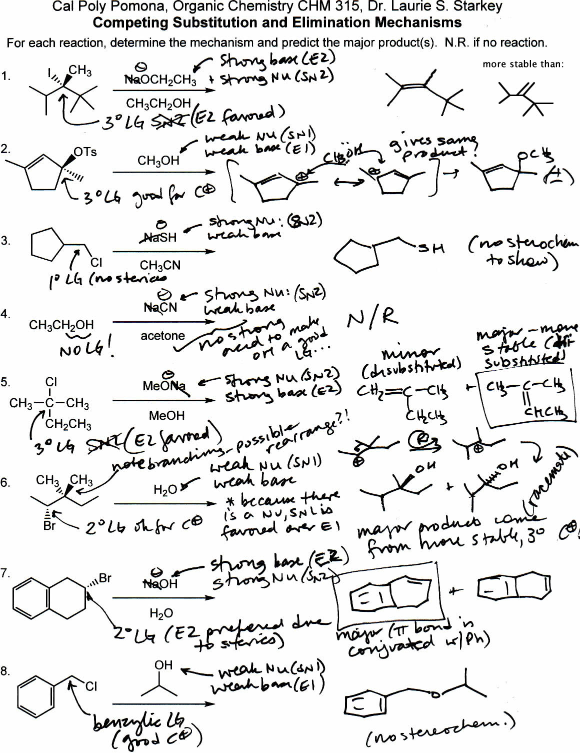 The Complete Organic Chemistry Worksheet Answers