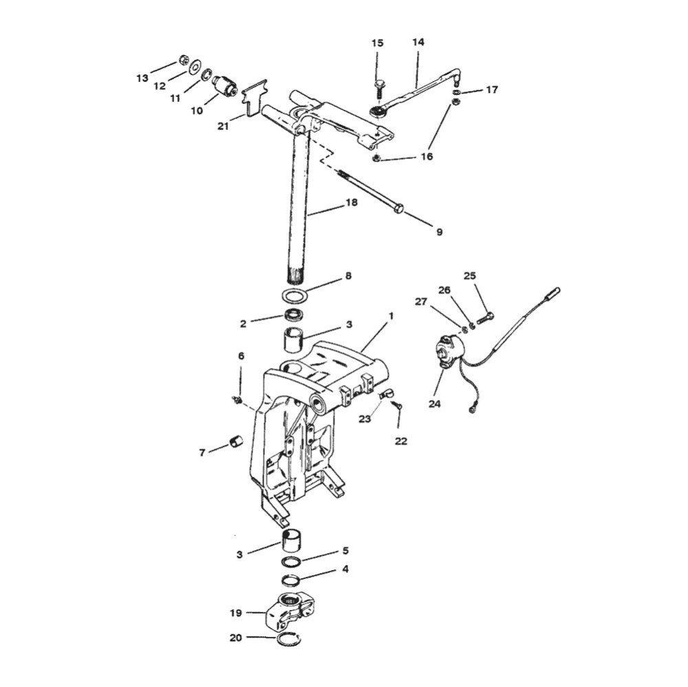 medium resolution of 225 efi pro max and super mag serial 0d935638 thru 0g610103 swivel bracket and steering arm