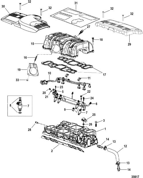 small resolution of 7 4l mpi bravo gen 6 gm 454 v 8 1998 2000 serial 0l010003 thru 0m024330 intake manifold and intake plenum