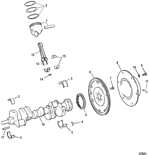 small resolution of 7 4l bravo gen 6 gm 454 v 8 1996 1997 serial 0f800700 thru 0k999999 crankshaft pistons and connecting rods