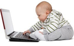 Baby on a laptop