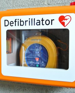 Heartsine defibrillator in wall mount