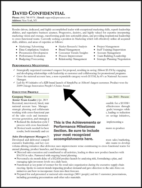 Achievement Examples For Resume - Examples of Resumes