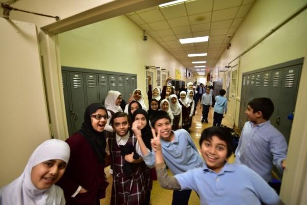 Elementary students showing off their school spirit, masha'Allah.