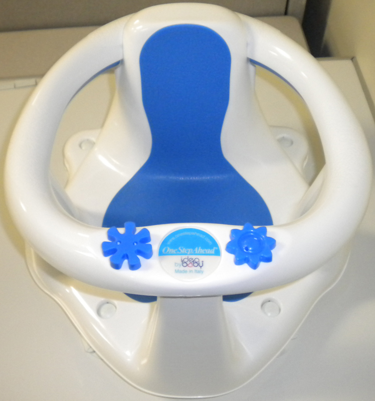 baby bath chairs amish adirondack chelsea scott recalls idea seats due to drowning hazard the one step ahead seat is white and blue