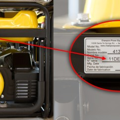 Champion Generator Wiring Diagram 6 Way Trailer Plug For Model 41332 Cita Asia Detail Of Recalled Showing Location The Number And Serial