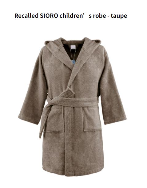 Recalled SIORO children's robe – brown