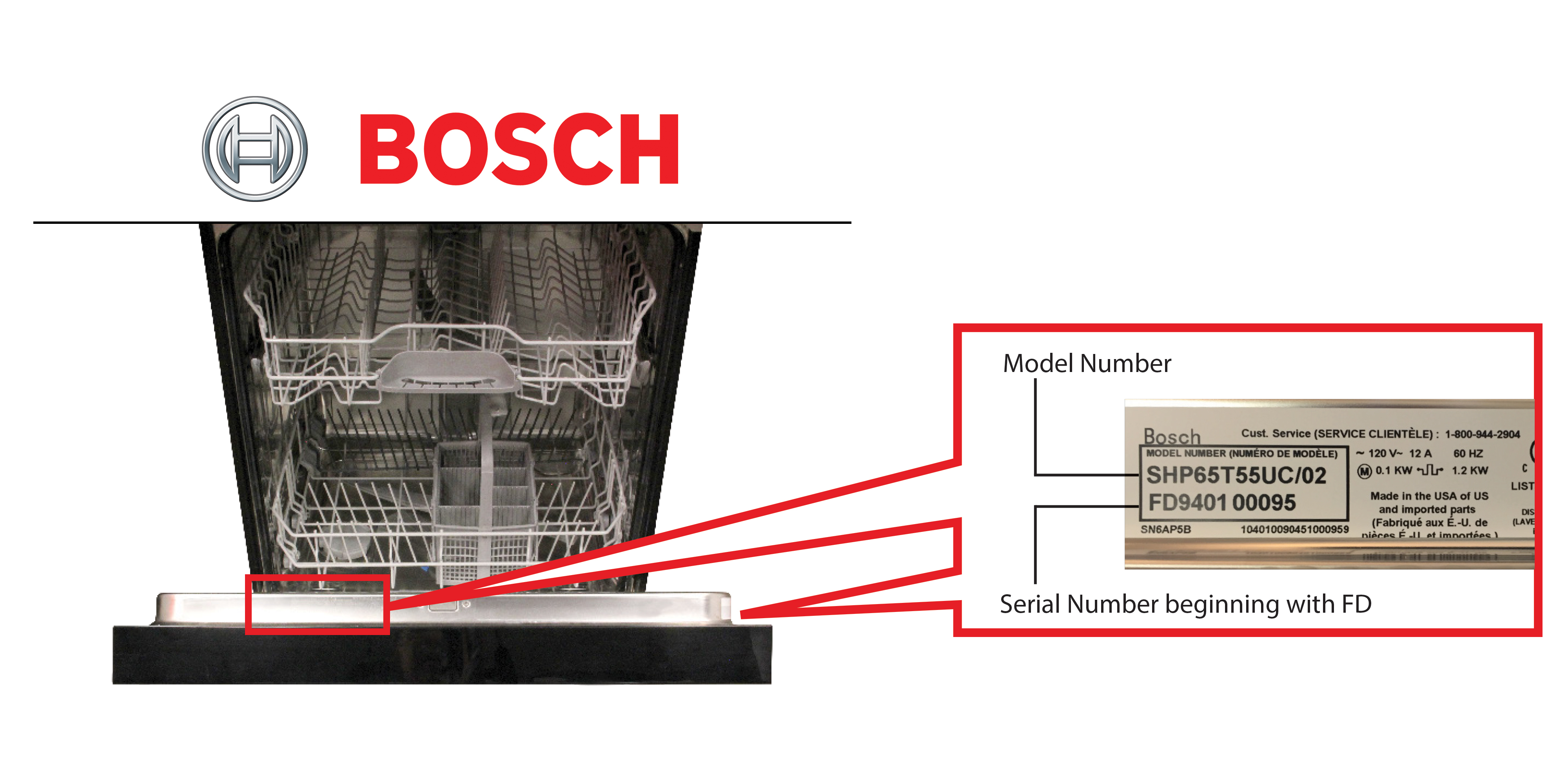 hight resolution of bosch dishwasher model and serial number location