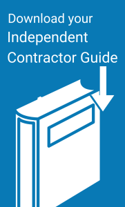 """White and blue clip art with a Book. Arrow points to book. Title is """"Download your independent contractor guide."""