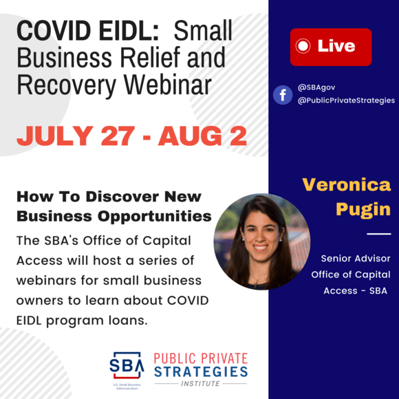 Upcoming EIDL WEBINAR Series: Small business relief and recovery