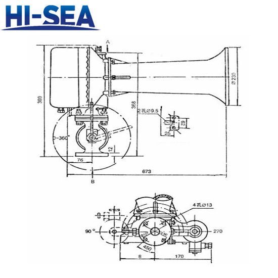 Drawing of Marine WD Series Diaphragmatic Air Horn WD-1: