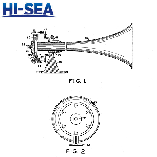 Drawing of MarineDiaphragmatic Air Horn WD-1: