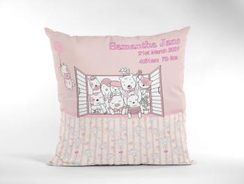 Baby Birth Cushion Cute Animals In Window Pink