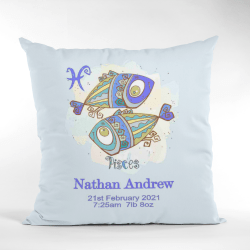 Baby Birth Cushion Pisces Without Border Blue