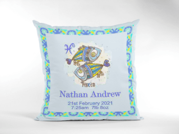 Baby Birth Cushion Pisces With Border Blue