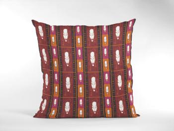 African Woman Tribal Masks Ethnic Pattern Cushion-Maroon&Orange