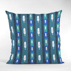 African Woman Tribal Masks Ethnic Pattern Cushion-Blue