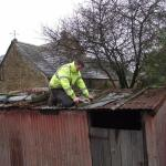 Mending a shed roof