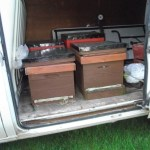 Hives in the van ready for a long journey