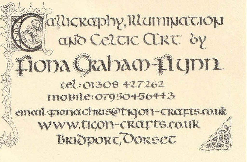 FIONA GRAHAM-FLYNN, CALLIGRAPHER AND ILLUMINATOR