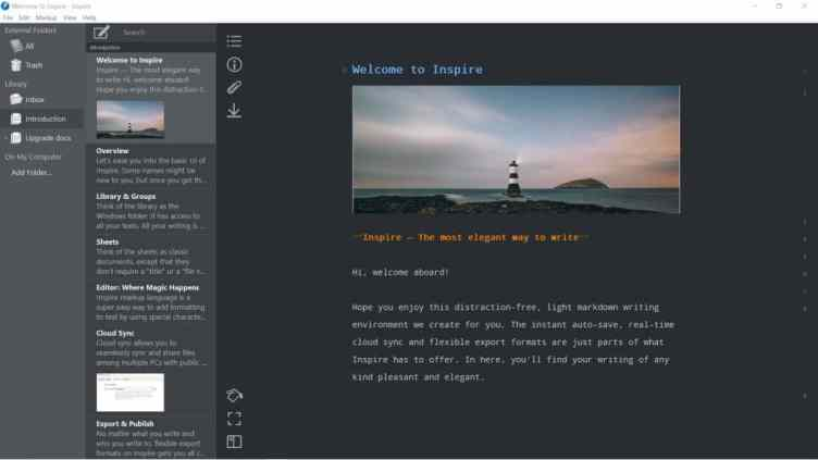 screenshot of Inspire 3 app dark mode - tool for distraction-free writing projects