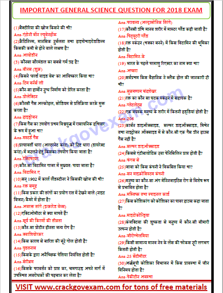 Download Objective Questions of General science in Hindi Pdf